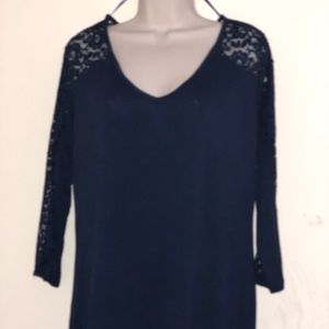 Women's Lace Navy Blue Ambiance Blouse